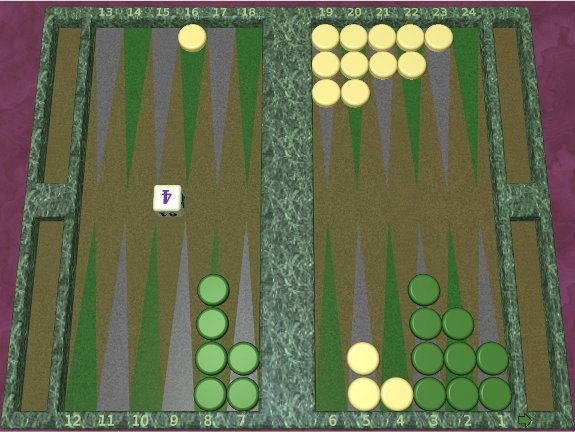 GNU Backgammon example game 1