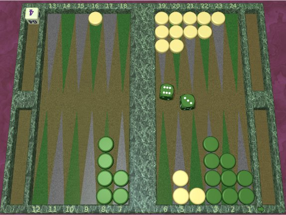 GNU Backgammon example game 2