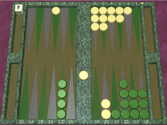 GNU Backgammon example game 3