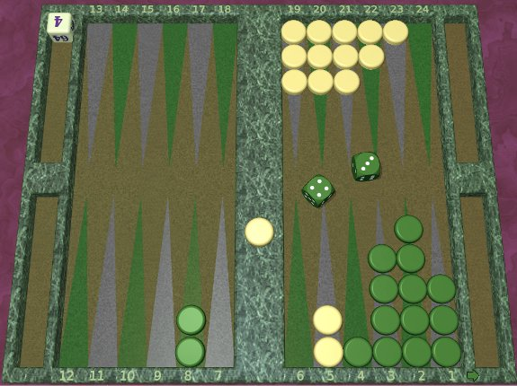 GNU Backgammon example game 5