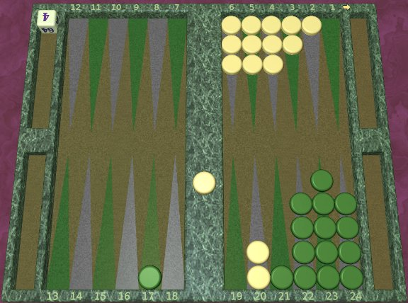 GNU Backgammon example game 6
