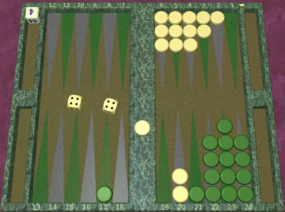 GNU Backgammon example game 7