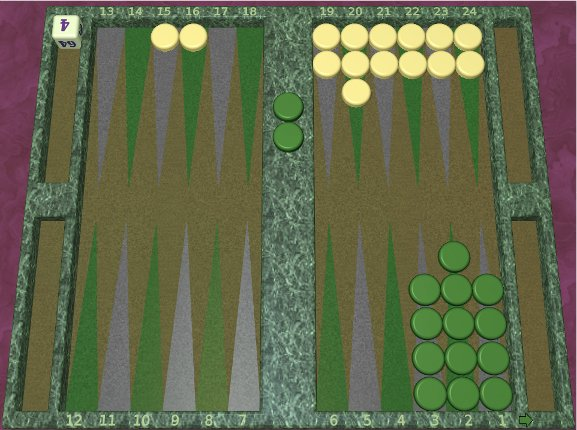 GNU Backgammon example game 9