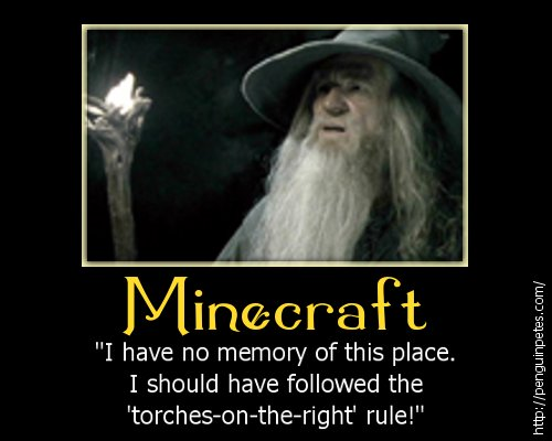 Gandalf plays Minecraft motivational poster