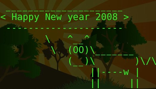Happy New Year 2008, from the ASCII cow