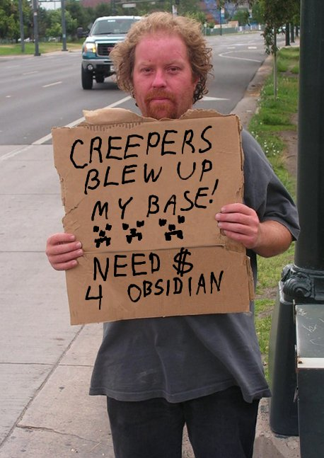 Minecraft homeless cardboard sign