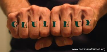 hardcore GNU/Linux knuckle tattoo